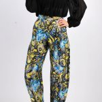 Long100SilkPintedHighWaistPants55
