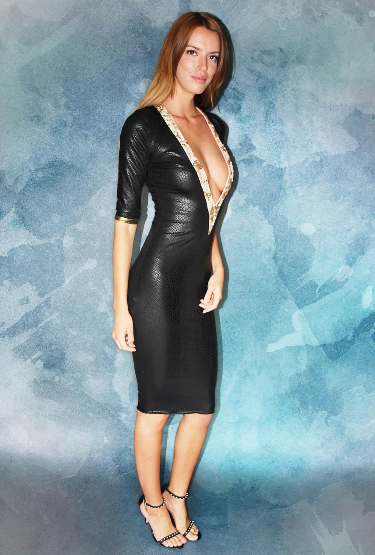 Make Me Shine Deep V Neck Bodycon Dress – Dare to Wear